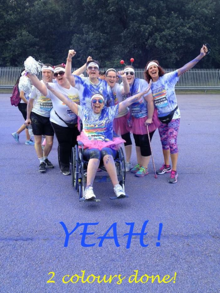 Part of team BAM 4 MS-UK after the 2 of the joggers went ahead Back row, left to right: Mike, Giggler, Deb, Angie, Me, Sharon Bottom row: Sare taking her turn in 'Wilma' wheelchair